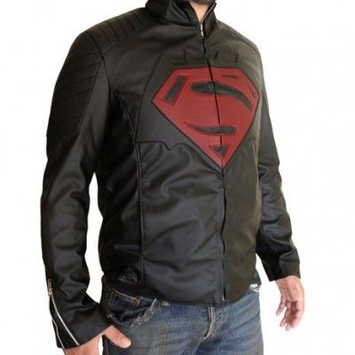 Material: soft Synthetic Leather Color: Back Lining: Viscose Lining Collar: Shirt style collar Front: Batman VS Superman Logo Closure: YKK zip closure Pockets: Two inside Pocket. Sleeves: Zippered cuffs Style: Belted waistline, shoulder epaulets