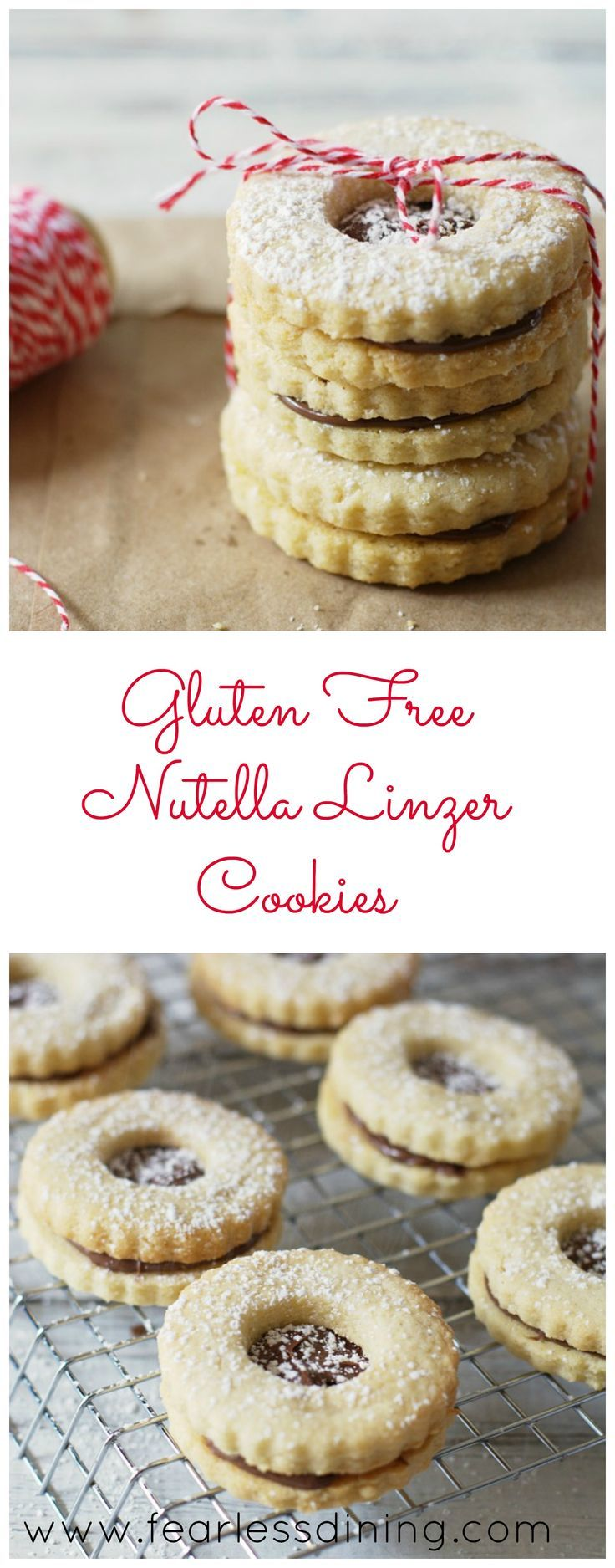 Gluten Free Nutella Linzer Cookies are my favorite way to use Nutella. Found at http://www.fearlessdining.com