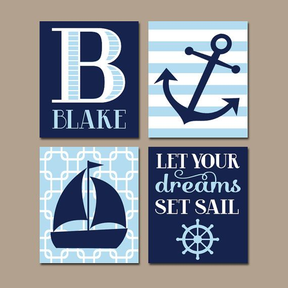 Arte de pared de la guardería náutica, velero ancla, lona o impresiones, Baby Boy vivero arte, decoración de dormitorios azul marino, tema costero, Set de 4 velas