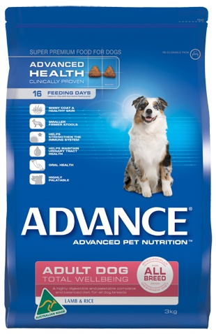 Total Wellbeing All Breed, Lamb & Rice-ADVANCE®. A highly palatable and digestible, complete and balanced diet for all dog breeds.Helps strengthen the immune system, contributes to a shiny coat and healthy skin, contains Nutrifibre for firmer stools,highly palatable and good for oral health, maintains urinary tract health.