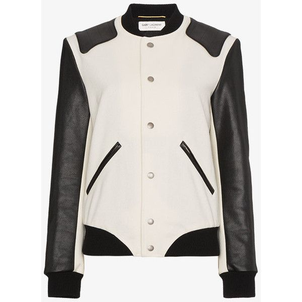 Saint Laurent Heaven Varsity Jacket ($3,010) ❤ liked on Polyvore featuring outerwear, jackets, white, varsity bomber jacket, 100 leather jacket, college jacket, varsity style jacket and real leather jackets