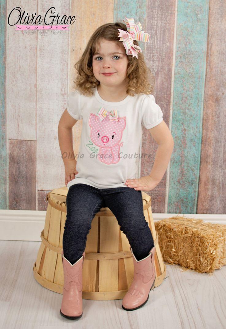 Girls Pig Shirt, Boys PigShirt, Pig birthday shirt, Girls Farm Shirt, Embroidered Applique Shirt or Bodysuit by OliviaGraceCouture on Etsy