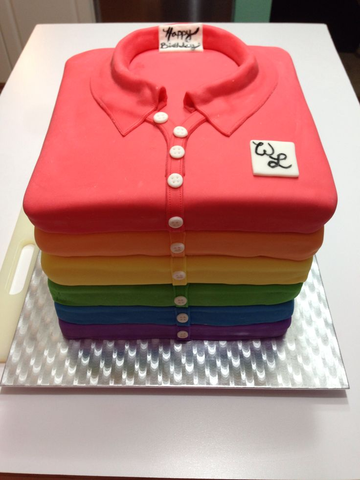 rainbow stacked polo style shirt cake  by custom cakes by