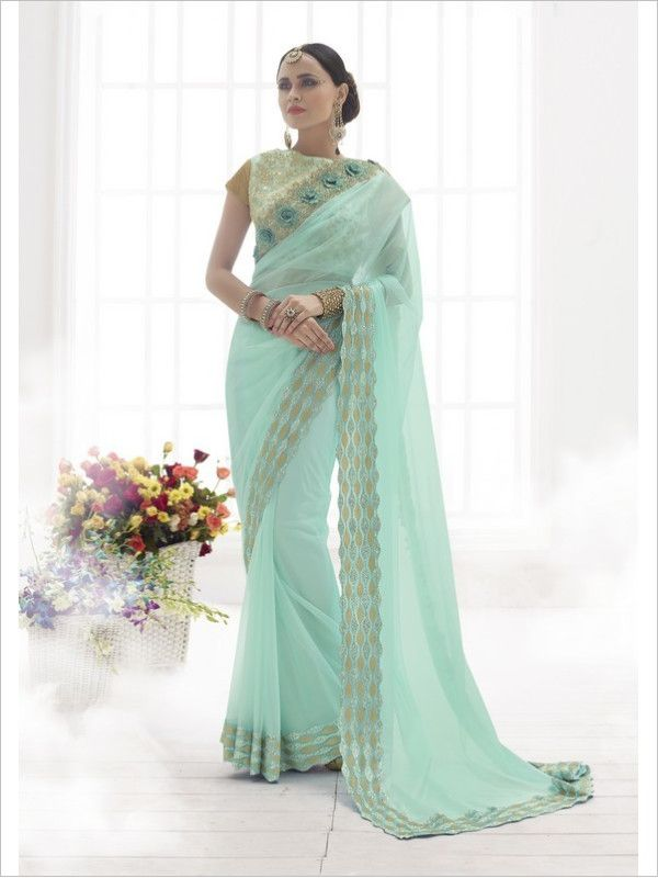Turquoise Party Wear Net/Satin Saree