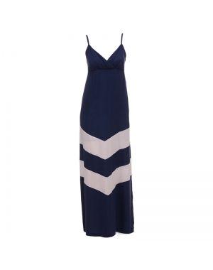 Φόρεμα μακρύ ραντάκι μπλε με λευκές ρίγες.