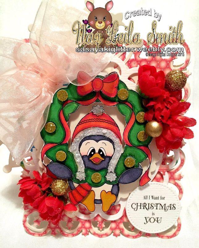 My card featuring Wreath hanging Slippy. http://digitaldelightsbyloubyloo.blogspot.com.au/ More information On my blog http://sasayakiglitter.weebly.com/
