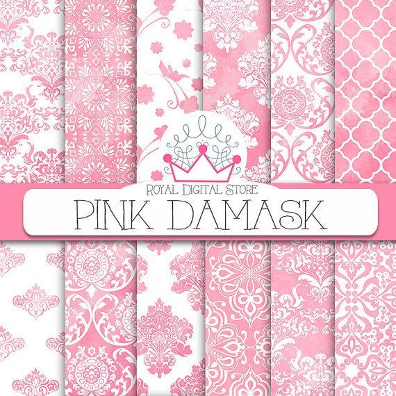 Damask digital paper: PINK DAMASK with pink por royaldigitalstore