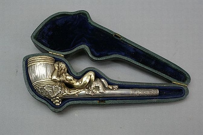 Silver victorian smoking pipe