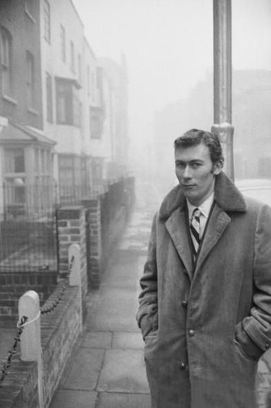 John Osborne (1929 - 1994) in Chelsea, 1958. He was an English playwright, screenwriter and actor. His 1956 play ''Look Back in Anger'' transformed English theatre.