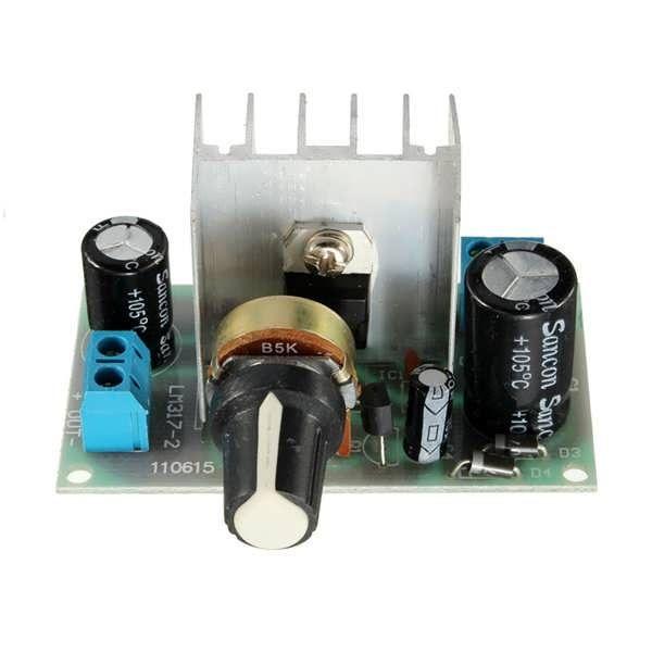 LM317 1A AC/DC Adjustable Voltage Regulator Step-down Module Specification:   Module Size: 62x35mm  Input: DC:5-35v or AC:6-24V  Output: 1.25-30V  Current(Max): 1A  Model: Adjustable Voltage Regulator    Package Included:   1 x Adjustable Voltage...
