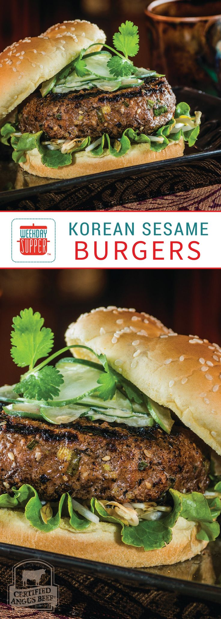 Korean sesame burgers marry Asian flavors with a good old American burger. Top with cucumber, cabbage, bean sprouts and cilantro. So fresh and delicious! #WeekdaySupper #BestBeef
