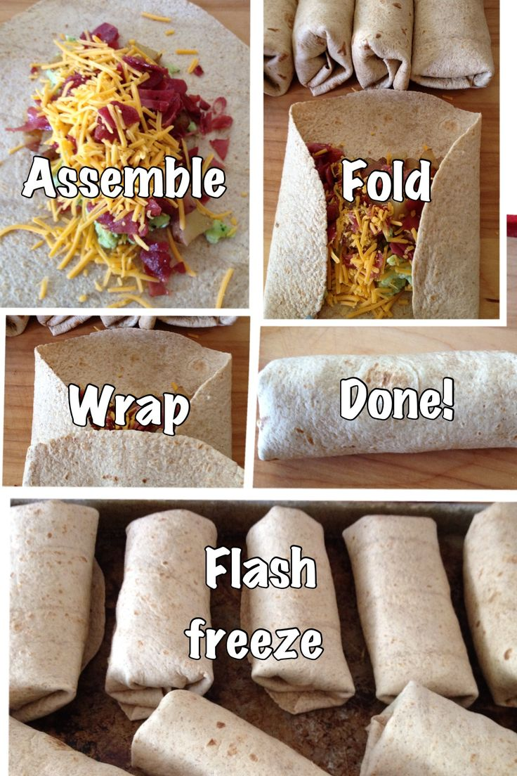 Healthy breakfast burritos: dozen eggs, 1 entire package turkey bacon, 3-4 medium red potatoes, 1/2 small onion, 9 or 10 whole wheat tortillas, sharp cheddar, spinach & low-fat milk. Purée spinach with milk then add to beaten eggs then scramble. Cook chopped bacon then add potatoes & onion. Let all cool then assemble, wrap and flash freeze!! High protein, low fat breakfast of champions!