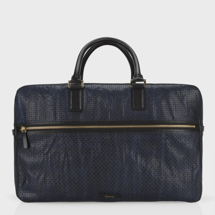 Paul Smith Bags Navy Perforated Star Leather Forbes Holdall