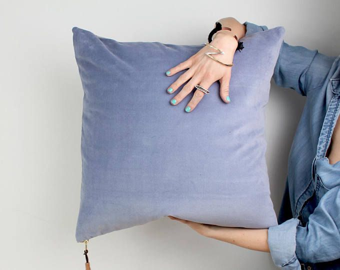 Serenity blue and Gray Square Velvet Accent throw pillow  CASE with invisible zipper minimalist pillow pastel decor present