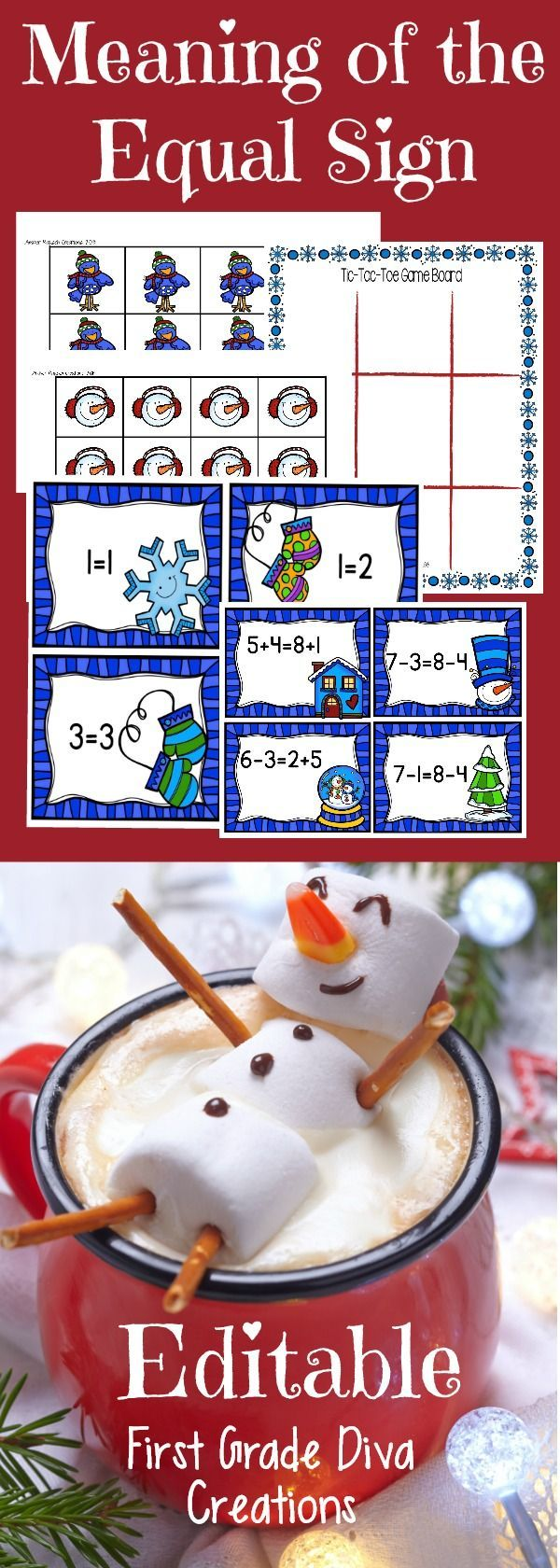 Looking for a new winter math center? I am always looking for new ways to help my students understand the meaning of the equal sign, and to determine if equations involving addition and subtraction are true or false. It even has two editable pages so you can easily differentiate games for all of your students.