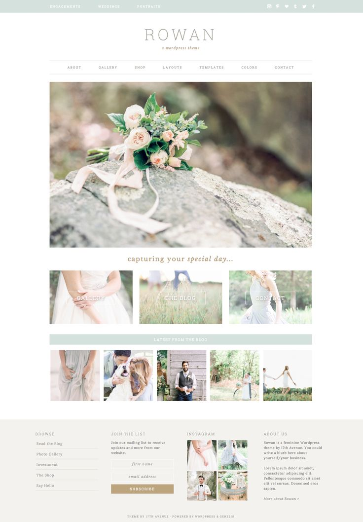 Meet Rowan: a feminine, chic mobile responsive Wordpress theme perfect for photographers, entrepreneurs, and bloggers. Rowan features a slider to showcase your photos, a fully customizable
