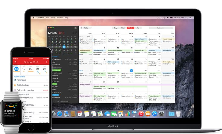 Fantastical App on MacBook, iPhone, and Apple Watch. Shows month calendar view.