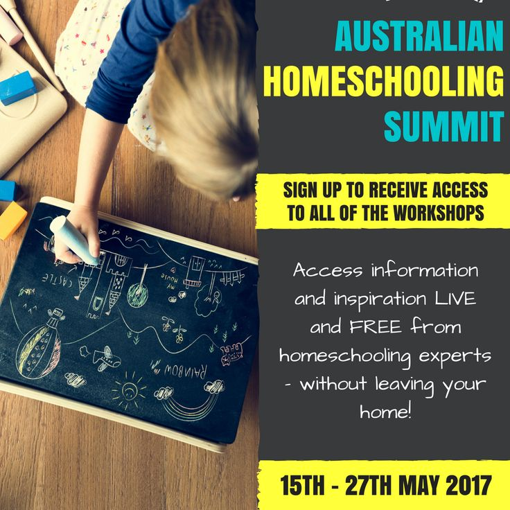 Australian Homeschooling Summit 2017! Homeschooling experts from all over Australia are coming together to share their experience and teach a series of live, online, workshops and presentations. Best of all, the sessions are FREE! Click through to learn more, and sign up for notifications about each event.