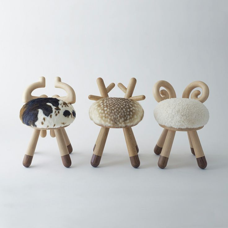 Schattige #kinderstoeltjes #koe #schaap #Bambi