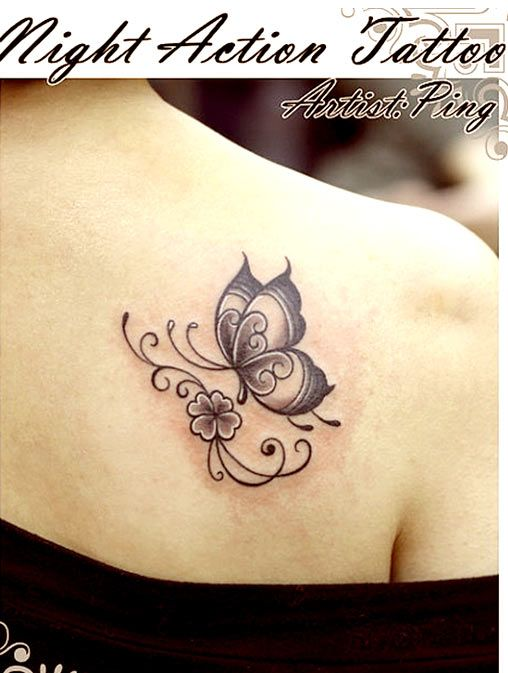 Greyscale butterfly tattoo