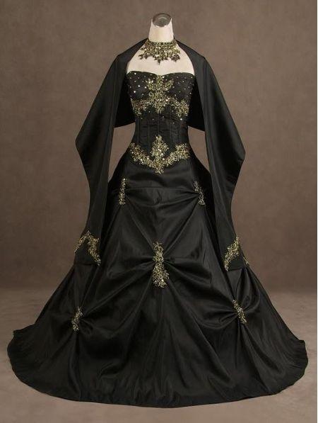 Black Strapless Gothic Wedding Dress by DEVILNIGHTUK.deviantart.com on @deviantART