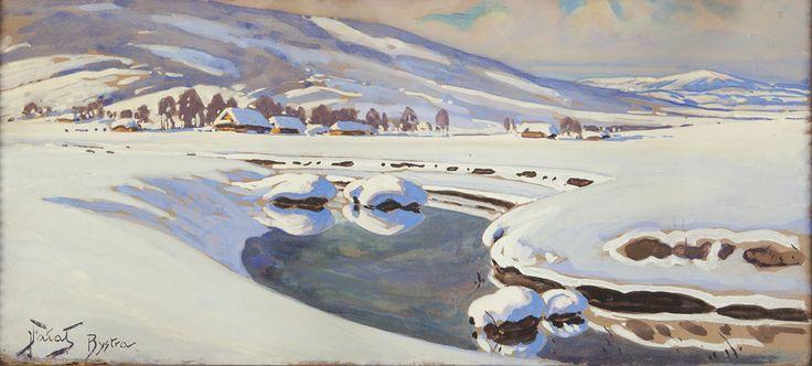 Julian Fałat, Krajobraz zimowy z rzeką. Bystra