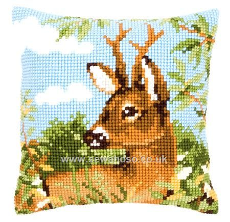 Buy Roe Deer Cushion Front Chunky Cross Stitch Kit Online at www.sewandso.co.uk