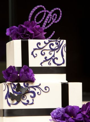 purple and gray wedding cakes | purple and black cake | Exclusively Weddings Blog | Wedding Planning ...