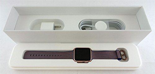 Apple Watch MMF42LL/A Sport 38mm Smartwatch (Rose Gold Aluminum, Royal Blue Woven Nylon Band). APPLE WATCH SPORT.