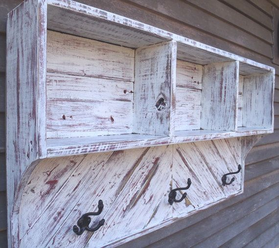 Wall Rack with Hooks  Rustic Wood Sculpture  by AlleyCatDesignSt, $170.00