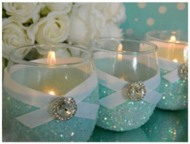 Tiffany Blue Bling Votive Holders