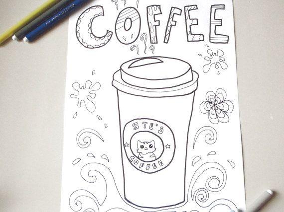 caffe pagina da colorare caffè tazza bicchiere adulti zen
