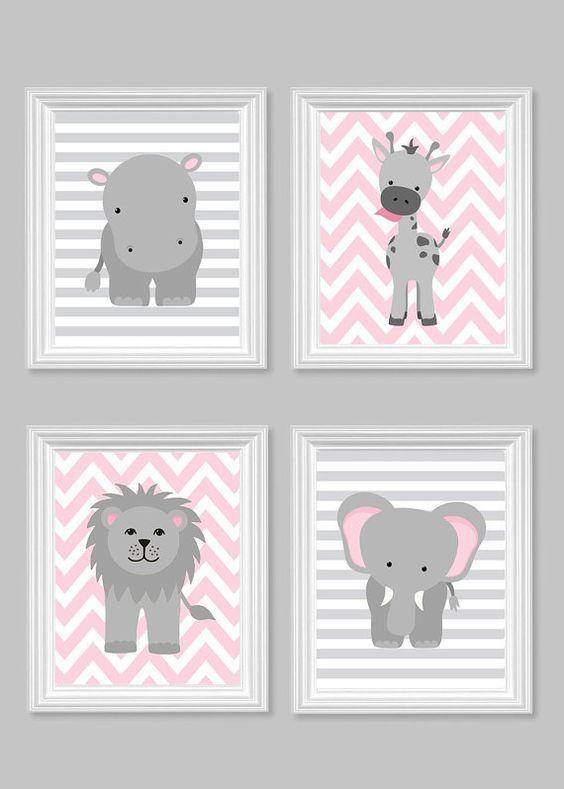 Zoo Nursery Decor, Gray and Pink Nursery, Girl Zoo Nursery, Elephant Nursery, Safari Nursery, Jungle Decor, Hippo, Giraffe, Zoo Canvas Art