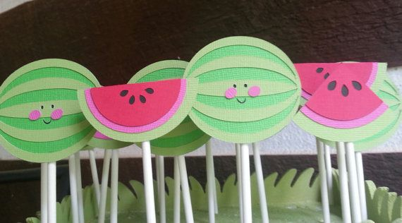 12 Watermelon birthday party cucake toppers by Kirascollection