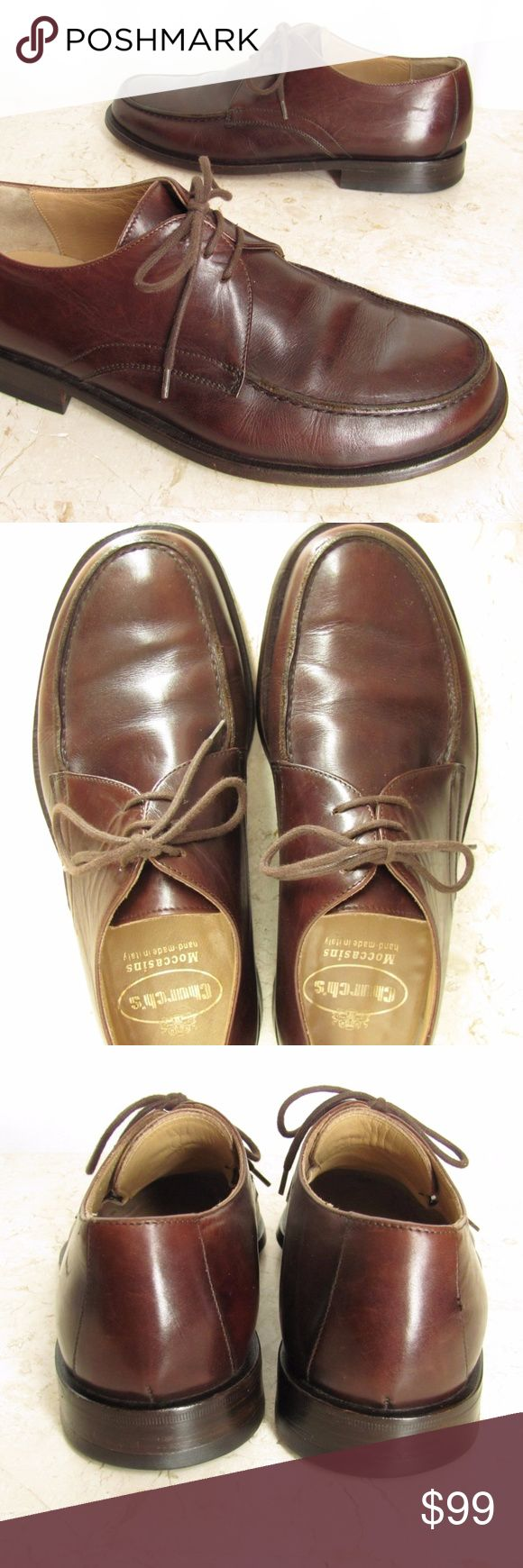 "Church's Mens Oxford Shoes 7.5 C Brown Leather Handsome Church's handmade Italian shoes in mens size 7.5 C. These fine designer brown leather oxford shoes have leather everywhere the foot touches. They have leather soles and non slip heels. Part of the Prada group of fine footwear. Retailing for $490 Euro.   A tape measure laid on the insole measures about:  10 1/2"" from the toe to the heel  3 3/8"" across the widest part of the ball of the foot  1"" heel height  Ship Size: pria 170717-214-Mns…"