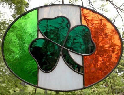 Stained Glass shamrock and Irish flag colors