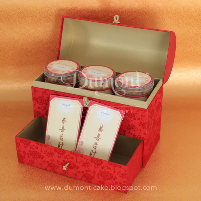 Chinese new year cookies & customised design of money envelope cards in a red treasure box completed with a drawer
