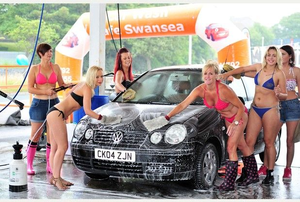 Women Washes Car Topless