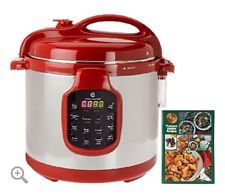 Cook's Essentials Red 6 Qt Pressure Cooker Stainless Steel QVC Model K41143 NIB