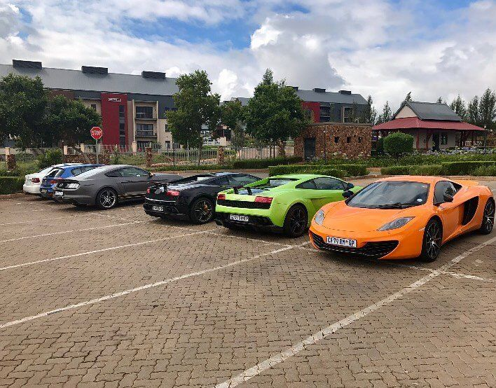 Double Superleggera 12C Roush Mustang and BMW 140i all lined up for a breakfast run spotted by @brandonmstone  #ExoticSpotSA #Zero2Turbo #SouthAfrica #Lamborghini #Gallardo #Superleggera #McLaren #MP412C #BMW #140i #Roush #Mustang