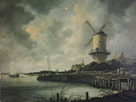 Vintage reproduction of  Mill near Wijk bij Duurstede  is a print on wood.  The painting (c 1670) is from Jacob Isaacksz van Ruisdael (1629 -