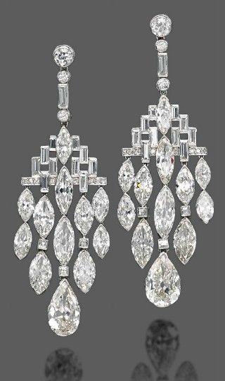 Bulgari Art Deco Diamond Ear Pendants - 1920's - Christie's - @~ Mlle