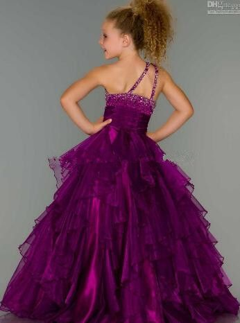 Exquisite Hot Style Girls Pageant Dresses One-Shoulder Tiers Sash Beads Little Rosie Pageant Dress O on Luulla