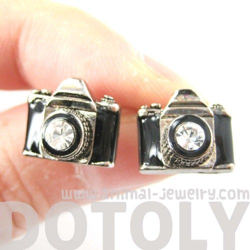Tiny Camera Stud Earrings in Black on Silver with Rhinestone Lens $7.99 #cameras #travel #photographers #earrings #jewelry