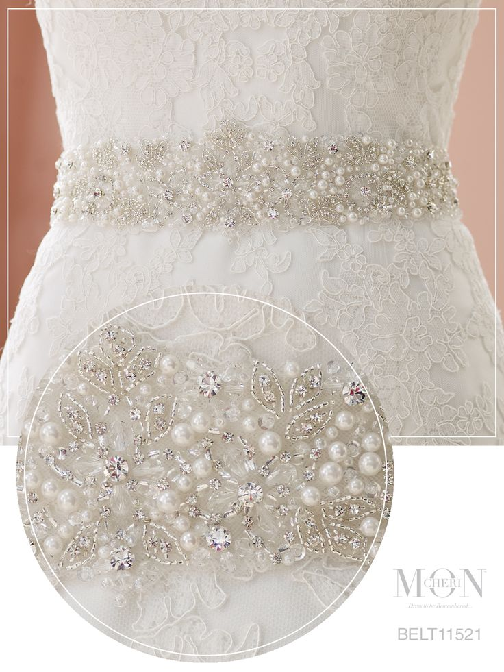 Hand-beaded illusion pearl wedding dress belt - Mon Cheri Bridals Style No. BELT11521