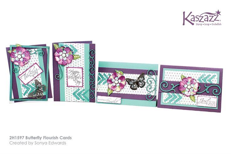 2H1597 Butterfly Flourish Cards