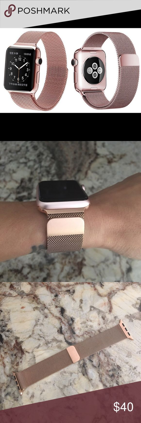 Rose Gold Milanese Loop Watch Band 42mm Brand new and unused. Only put on my watch for pictures and then immediately removed. This band is for the 42mm Apple Watch. Accessories Watches