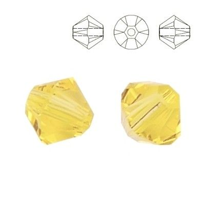 5328 Bicone 4mm Jonquil 10 pieces  Dimensions: 4,0mm Colour: Jonquil 1 package = 10 pieces