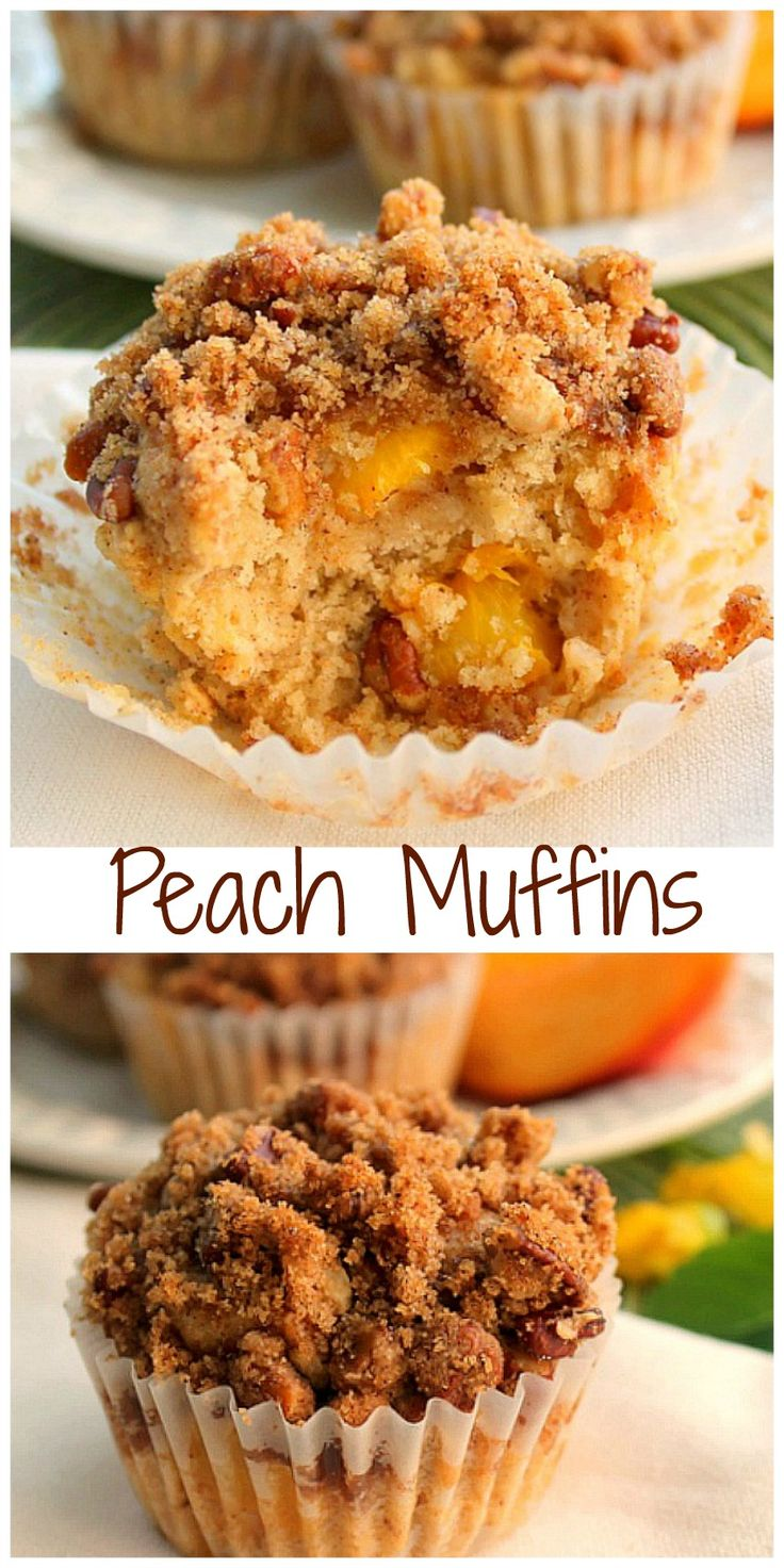 Moist and Delicious Peach Muffins with Crumb Topping for breakfast, a snack or a special treat for the office. Your going to love them! via @BunnysWarmOven