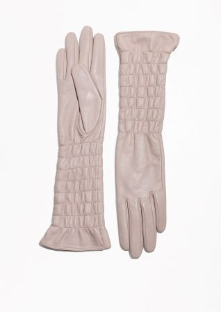 & Other Stories | Smocked Leather Gloves